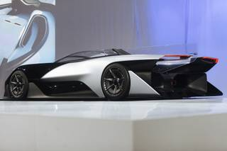 Faraday Future's concept vehicle FFZERO1 is unveiled at an event before the start of the Consumer Electronics Show on Monday, Jan. 4, 2016, in a parking lot across the street from the Luxor.