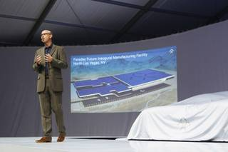 Nick Sampson speaks during Faraday Future's concept vehicle FFZERO1 unveiling at an event before the start of the Consumer Electronics Show on Monday, Jan. 4, 2016, in a parking lot across the street from the Luxor.
