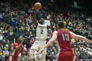 Colorado State's Emmanuel Omogbo shoots against UNLV during an NCAA college basketball game Wednesday, Jan. 6, 2016, in Fort Collins, Colo.