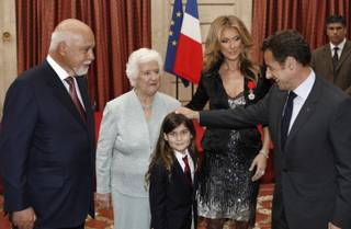 Rene Angelil, Therese Dion, Rene-Charles Angelil, Celine Dion and French President Nicolas Sarkozy after Celine Dion was awarded France's Legion d'Honneur during a ceremony at the Elysee Palace on Thursday, May 22, 2008, in Paris.