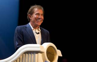 Steve Wynn, chairman and CEO of Wynn Resorts, gives a keynote address during the annual Electronics For Imaging (EFI) users conference at Wynn Las Vegas Tuesday, Jan. 19, 2016.