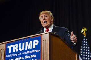 Republican Presidential candidate Donald Trump speaks at a rally at the South Point Hotel, Casino, and Spa in Las Vegas on Thursday, January 21, 2016..