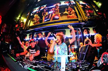 Redfoo at Marquee in the Cosmopolitan of Las Vegas. DJ Chuckie is at left.