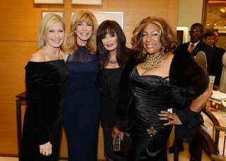 Flamingo headliner singer Olivia Newton-John, left, with Leeza Gibbons, Marie Osmond and Mary Wilson, is honored as Nevada Ballet Theatre Woman of the Year at the Black & White Ball on Saturday, Jan. 23, 2016, at Wynn Las Vegas.