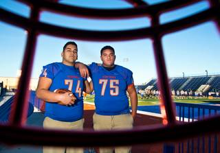 The Bishop Gorman High School to UNLV football pipeline will begin with offensive linemen Jaron Caldwell and Julio Garcia II, pictured here Wednesday, Jan. 20, 2016. They are both expected to sign national letters of intent Wednesday, Feb. 3.
