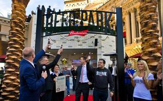 Dignitaries with Beer Park enjoy a toast to help celebrate the grand opening of the venue Saturday, Jan. 30, 2016, at Paris Las Vegas.
