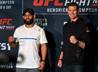 Fighters Johny Hendricks and Stephen Thompson pose off before the cameras during the UFC Fight Night 82 media day at the MGM Grand on Wednesday, February 3, 2016.