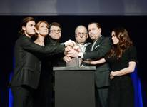 "Rene-Charles Angelil, Celine Dion, Patrick Angelil, Andre Angelil, Jean-Pierre Angelil and Anne-Marie Angelil attend the ""Celebration of Life"" for Rene Angelil, the husband and manager of Dion, at the Colosseum on Wednesday, Feb. 3, 2016, at Caesars Palace."