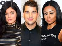 A composite image of Kylie Jenner, Rob Kardashian and Blac Chyna.