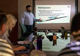 Jonathan Daniels, leading the design and management of The Aerodrome, is helping to build the Eldorado Droneport in Boulder City area and operating a teaching facility in Henderson on Friday, February 5, 2016.