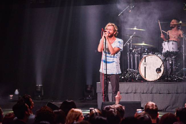 Awolnation performs during the grand opening of the Foundry on Friday, Feb. 5, 2016, at SLS Las Vegas.