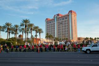 Supporters of Culinary Local 226 gather in front of Palace Station to demonstrate their frustrations with Station Casinos' treatment of employees, Friday Feb 12, 2016.