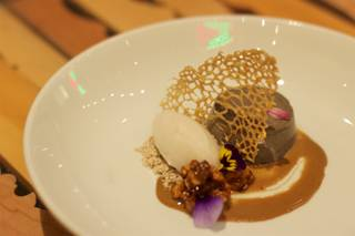 Sweet Life (black sesame seed flan and lychee sorbet) is among the 2016 Chinese New Year menu items at China Poblano in the Cosmopolitan of Las Vegas.