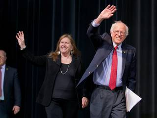 Democratic presidential candidate Bernie Sanders and his wife Jane arrive onstage for his speech at a campaign rally at the Henderson Pavilion, Friday, Feb. 19, 2016.