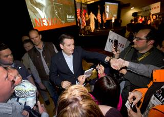 Republican presidential candidate Sen. Ted Cruz (Texas) thanks supporters during a caucus watch party at the Bill & Lillie Heinrich YMCA on Meadows Lane Tuesday, Feb. 23, 2016.