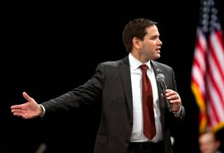 Republican presidential candidate Sen. Marco Rubio, R-Fla., rallies with supporters at the Silverton on Tuesday, Feb. 23, 2016, ahead of the Nevada caucuses.