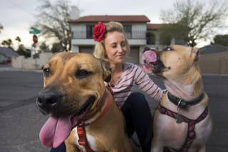 Paige Gordon, along with pit bulls Ava, left, and Ziggy, keep an eye on vacant properties in her neighborhood Sunday, Feb. 28, 2016. STEVE MARCUS