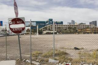A look at an empty lot near Tropicana Avenue and Koval Lane on March 1, 2016. UNLV closed a $50 million deal to buy 42 acres of land that may be used to build a stadium. The sale was announced Wednesday, Jan. 20, 2016