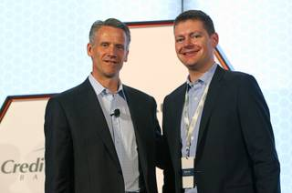 Steve Phelps, left, NASCAR executive vice president and chief marketing officer, and Brian Davis, vice president of marketing for Allegiant Air, pose during a Las Vegas NASCAR Fuel for Business Council meeting at the Cosmopolitan Thursday, March 3, 2016. At the meeting, Phelps and Davis announced that Las Vegas-based Allegiant Air will be the official passenger airline of NASCAR.