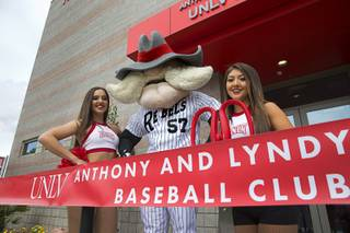 UNLV mascot Hey Reb poses with Pom Girls during the grand opening of the Anthony and Lyndy Marnell III Baseball Clubhouse at UNLV Monday, March 7, 2016.