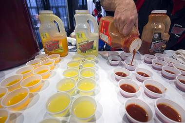 Samples of Redneck Juice cocktail mixers are prepared during the 2016 Nightclub & Bar convention at the Las Vegas Convention Center Tuesday, March 8, 2016.