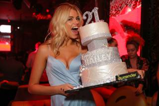 Hailey Clauson celebrates her 21st birthday at Surrender on Saturday, March 12, 2016, at Encore.