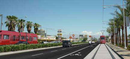 A proposal to build an urban light rail or bus rapid transit system on Maryland Parkway between McCarran International Airport and downtown Las Vegas is moving forward. This image from the Regional Transportation Commission shows a version of the proposal that involves running light rail lines down both sides of the street.
