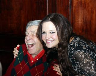 Jerry Lewis and his daughter Danielle, shown during his 90th-birthday surprise party at Piero's on Wednesday, March 16, 2016.
