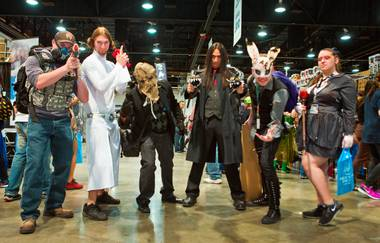 A group of costumed friends gather during Wizard World Comic Con Las Vegas at the Las Vegas Convention Center on Saturday, March 19, 2016.