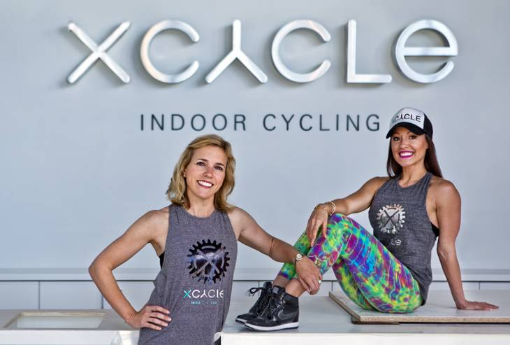 Ginger Melien and Jennifer Barnet of XCYCLE at Boca Park will be ready to officially open in several weeks.