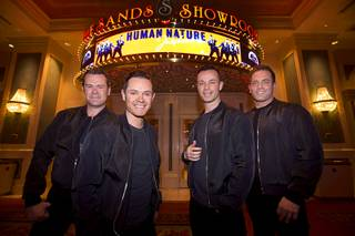 Human Nature — Phil Burton, Mike Tierney, Andrew Tierney and Toby Allen — stands in front of Sands Showroom on Monday, March 28, 2016, at the Venetian.