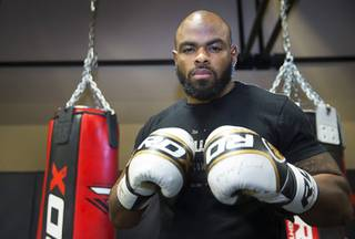 Air Force veteran and MMA fighter Clinton Williams poses during a workout at Xtreme Couture gym Tuesday, March 29, 2016. Williams will take on Rex Harris at the World Series of Fighting 30 in The Joint inside the Hard Rock Saturday.