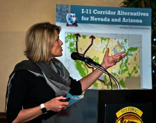 Tina Quigley, general manager for the Regional Transportation Commission of Southern Nevada, presents