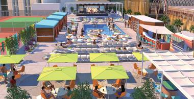 An artist's rendering depicts the expansion of the Plaza pool atop the downtown resort's roof. The pool venue is growing to 70,000 square feet, from 20,000 square feet.