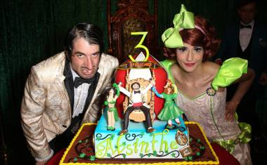 """Absinthe"" characters the Gazillionaire and Penny Pibbets appear at the show's third-anniversary celebration in Las Vegas."