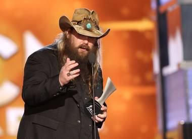 Chris Stapleton accepts the award for Male Vocalist of the Year during the 51st annual Academy of Country Music Awards on Sunday, April 3, 2016, at MGM Grand Garden Arena.