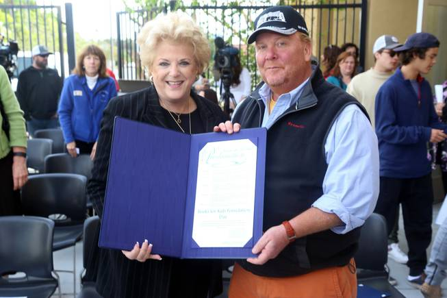 The Books for Kids/Mario Batali Foundation Library opens Tuesday, March 29, 2016, at Acelero Spring Valley Learning Center. Batali is pictured here with Mayor Carolyn Goodman.