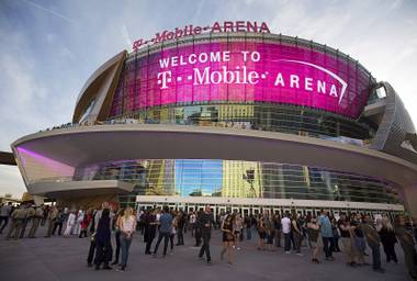 An exterior view of the T-Mobile Arena on Wednesday, April 6, 2016.