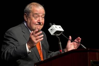 Top Rank CEO Bob Arum speaks during a final news conference for Manny Pacquiao of the Philippines and Timothy Bradley Jr. on Wednesday, April 6, 2016, at MGM Grand.