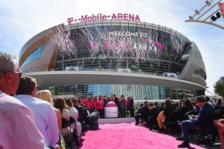 Confetti is shot skyward during the grand opening of MGM Resorts  International's T-Mobile Arena Wednesday, April 6, 2016.