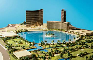 A massing model showing the general layout of a new project by Wynn Resorts that would include a 38-acre lagoon, 1,000-room hotel tower, small casino, restaurants, nightlife and meeting space.
