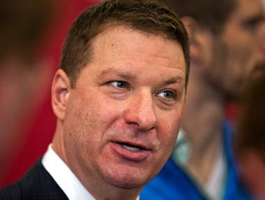 New UNLV basketball coach Chris Beard speaks with the media after a welcome gathering Friday, April 8, 2016, at Mendenhall Center.