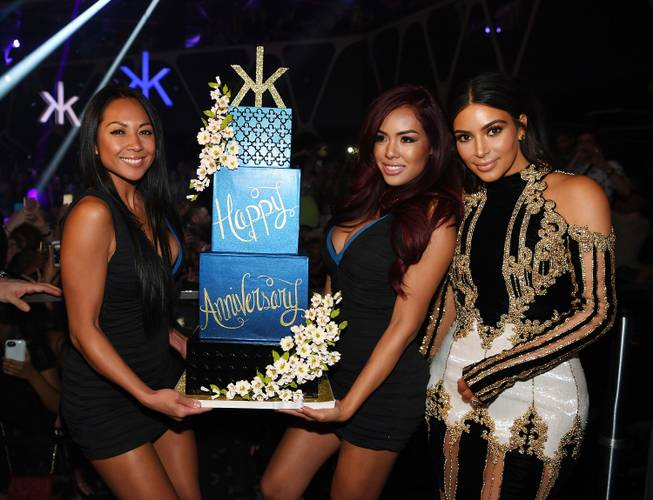Kim Kardashian West, right, hosts the third-anniversary celebration at Hakkasan ...