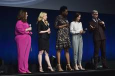 "Melissa McCarthy, Kate McKinnon, Leslie Jones, Kristen Wiig and ""Ghostbusters"" director Paul Feig attend Day 1 of CinemaCon on Tuesday, April 12, 2016, at the Colosseum in Caesars Palace."
