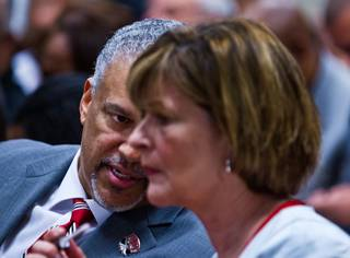 New UNLV basketball coach Marvin Menzies with Director of Athletics Tina Kunzer-Murphy appears before the  Nevada Board of Regents to get his contract approved on Friday, April 22, 2016.
