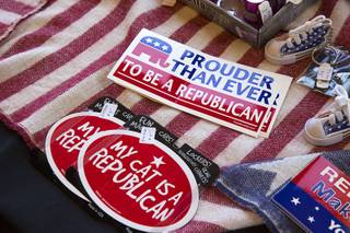 Republican-themed merchandise is displayed during a town hall meeting for Congressional District 3 candidates sponsored by the Southern Hills Republican Women's Club at Buckman's Grille in Henderson Tuesday, April 26, 2016.