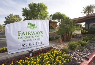 A view of a temporary sign for the Fairways Green Valley Apartment Homes, formerly the Camden Fairways Apartments, 1851 N. Green Valley Parkway, in Henderson April 26, 2016. On Tuesday, the Camden Property Trust announced the sale of 15 properties, a retail center and undeveloped land in the Las Vegas Valley.