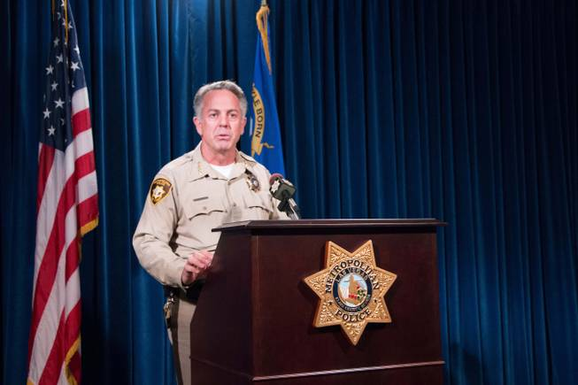 Sheriff Joseph Lombardo addresses the media from Metro's headquarters Wednesday, April 27, 2016, regarding a significant rise in violent crimes.