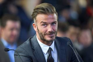 Soccer star David Beckham attends a meeting of the Southern Nevada Tourism Infrastructure Committee on Thursday, April 28, 2016, at UNLV.