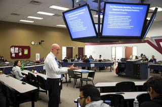 Michael DeYoung, professor of pharmacy, teaches a class at the Roseman University of Health Sciences in Henderson Tuesday, May 3, 2016. DeYoung is also vice president for Student Services.